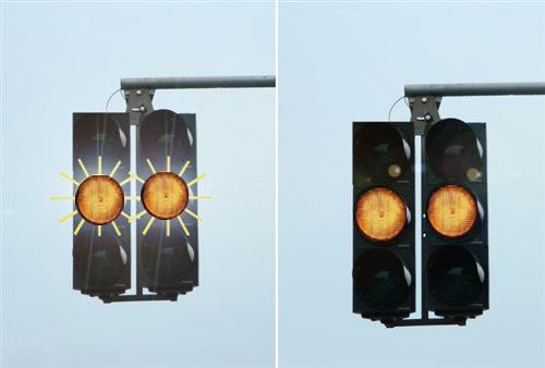Sinjalet ndriçuese të pajisjeve për dhënien e shenjave ndriçuese të komunikacioni, të paraqitura në fotografi, dritë e verdhë vezulluese dhe dritë e verdhë e pandërprerë, për shoferët: