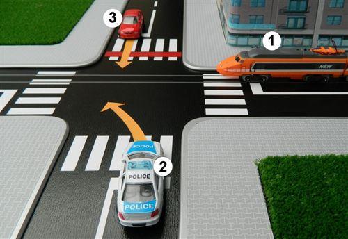 Според правилата за првенство на минување на крстосницата, во дадените полиња впиши ги броевите на возилата според редоследот на нивно минување: (Одговорот се внесува во формат, на пример: 123, 231, 132 итн.)