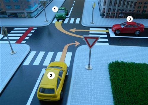 Sipas rregullave të përparësisë së kalimit në udhëkryqin, në fushat e dhëna shkruaj numrat e automjeteve sipas radhës së kalimit të tyre: (Përgjigja plotësohet në formatin, për shembull: 123, 231, 132 etj.)