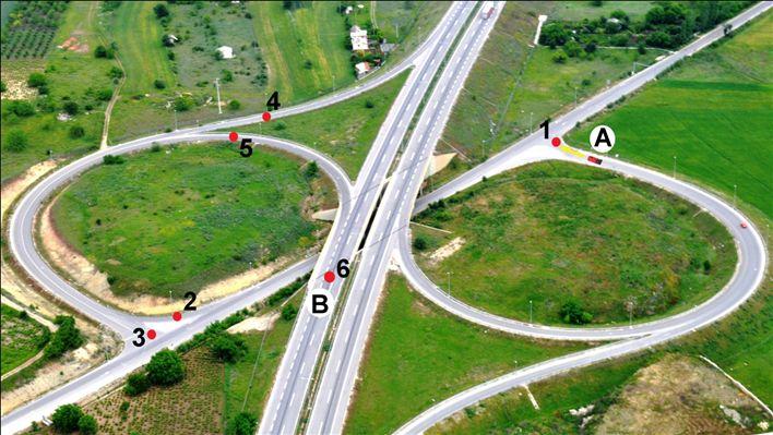 Vetura nga pozita A deri te pozita B do të lëvizë nëpër drejtimin e ardhshëm: