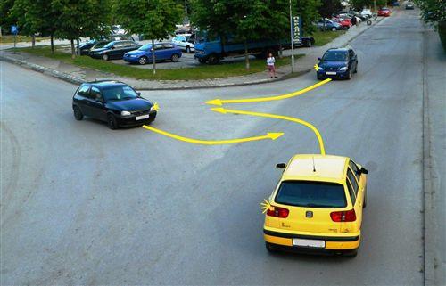 Sipas situatës së treguar në fotografi, radha e kalimit të automjeteve në udhëkryq është rregulluar sipas rregullit për përparësi kalimi të: