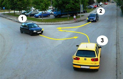 Sipas rregullave të përparësisë së kalimit, radha e përparësisë së kalimit të automjeteve në udhëkryq të treguar në fotografi, është siç vijon: